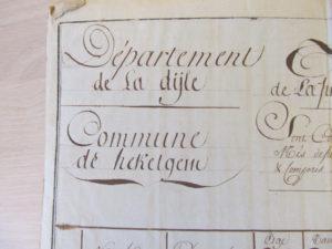 hoofding officieel document gemeente Hekelgem tijdens de Franse periode